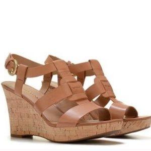 Franco Sarto Cera Leather Cork Wedge Sandals 8.5